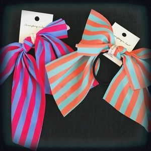 Set of Two Striped Bow Hair Ties NWT